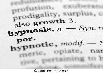 diccionario, serie, -, hipnosis