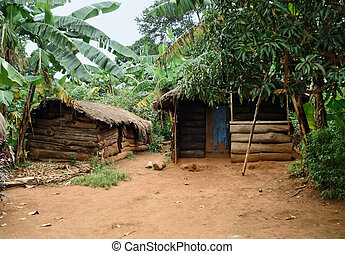 small village on a island in the Lake Victoria - detail of a...