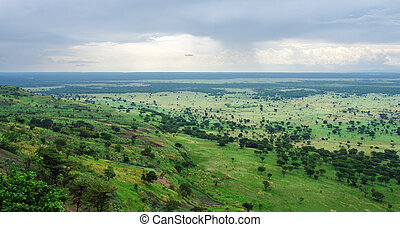 around Bwindi Impenetrable Forest in Uganda - aerial view...