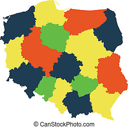 Poland - Vector map of Poland with regions and states