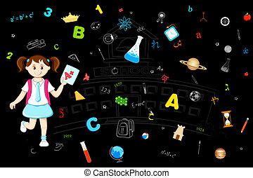 Girl with Grade Sheet - illustration of girl with grade...