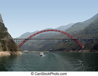 bridge over Yangtze River - sunny scenery along the Yangtze...