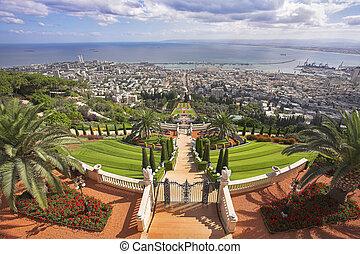 Grandiose solemn landscape - Bahai sacred places, Haifa and...