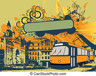 city tram - Vector illustration of a tram with city...