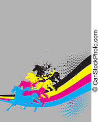 Ink horses - four horses with printer color ink splash -...