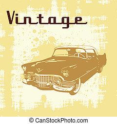 vintage car grunge - Vector illustration of vintage car on...