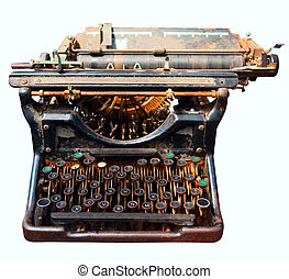 old isolated typewriter - old rusty isolated typewriter...