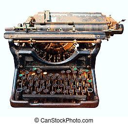 antigas, isolado, Máquina escrever