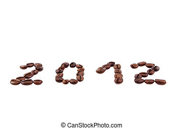 coffee with granules and new year 2012 on a white background...