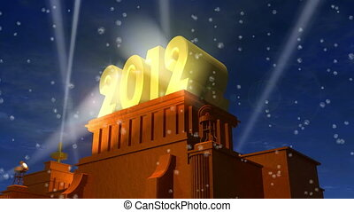 "New Year 2012 celebration caption: shiny golden ""2012"" on..."