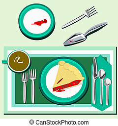 A slice of cherry pie - Illustration of a place setting with...