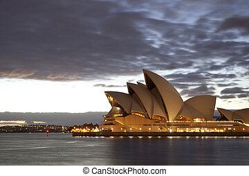 Sydney Opera House at Dusk - The famous Sydney Opera House...