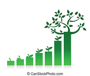 eco graph chart illustration design on white