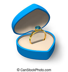 Blue heart-shape box with golden ring with jewels isolated...