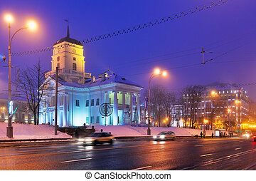 Night winter panorama of Minsk, Belarus