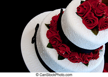 Red Rose Cake - Red rose decorated cake for wedding with...