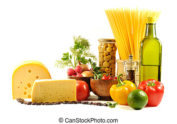 Fresh vegetables, spice and oil - Vegetables , pasta, cheese...