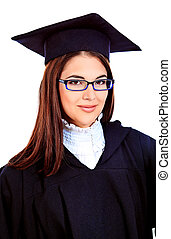 education - Educational theme: graduating student girl in an...