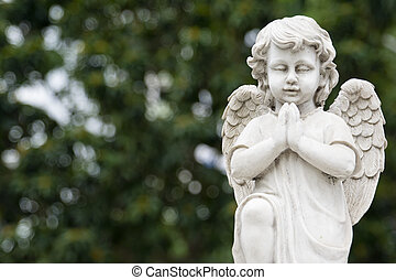 Angel statue - Cute winged Angel statue in praying pose with...