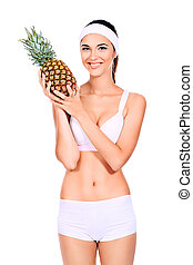 pineapple - Portrait of a beautiful young woman fresh...