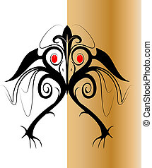 Iban Tribal Bird Design Vector