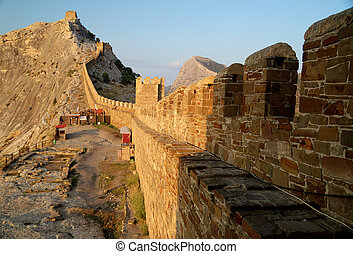 Genoese Sudak Castle - the ruins of an ancient fortress on a...
