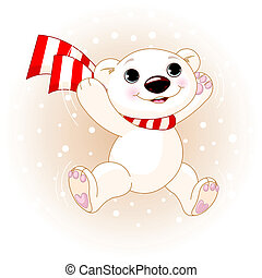 Cute Polar Bear jumping - Cute polar bear with scarf jumping...