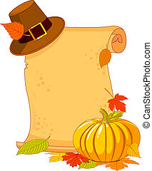 Thanksgiving Day scroll with pilgrim hat and pumpkin