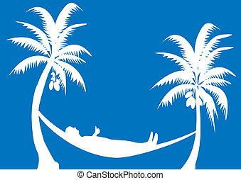 hammock with coconuts with blue background
