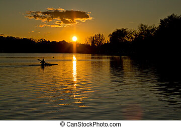 Sunset over lake Wascana