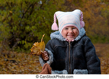 Little girl in autumn park. Image ID: 85039819 Release...