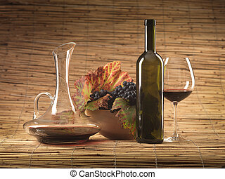 red wine bottle, glass, grapes, decanter rustic - bottle of...