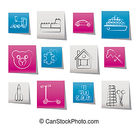 Different Kinds of Toys Icons
