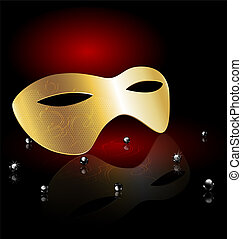 golden carnival half-mask - on an black-red background is a...