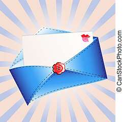 letter in a blue envelope