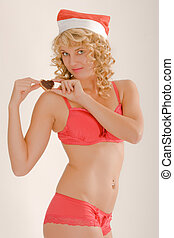 Woman in lingerie and santa hat - Blonde woman in red...