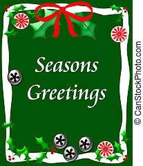 sweet seasons greetings - bells candy and holly on green...