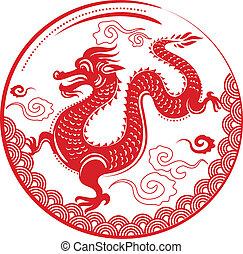 ano, dragão, Chinês, Novo, ano