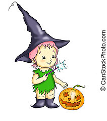 a witch with the pumpkin