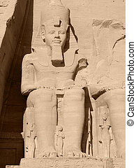 Ramses 2nd in Abu Simbel - huge ancient stone sculpture...