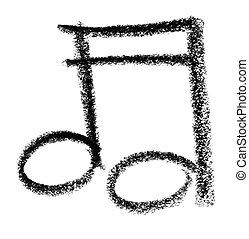 musical note sketch - crayon painted musical note in white...