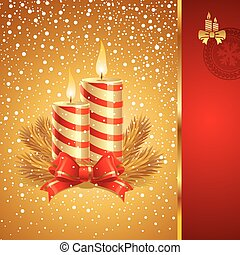Vector Christmas card with holidays candles
