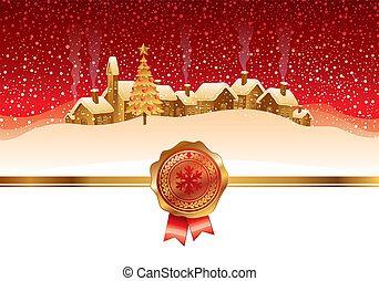 Vector Christmas card with winter night landscape and small town