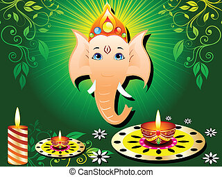 abstract green diwali card with candle vector illustration