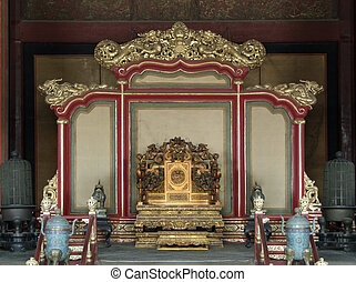 throne in the Forbidden City - historic throne at the...