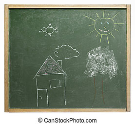 blackboard and paintings - old used blackboard with naive...