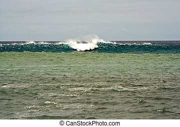 heavy waves with white wave crest in storm at the beach from...