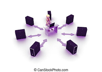 3D server with businessman