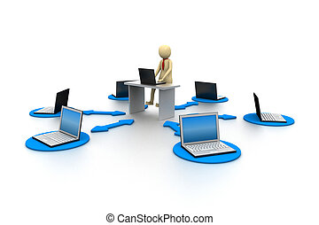 3D laptop with businessman