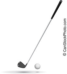Golf Ball and Club vector illustration, ball is detailed,...